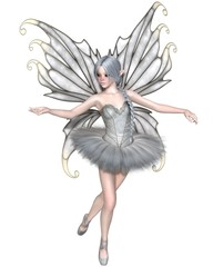 Fantasy illustration of a Ballerina Winter Fairy with silver wings in a white tutu, 3d digitally rendered illustration