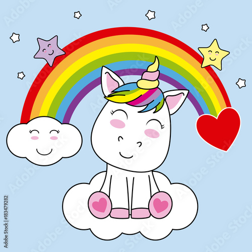 Smiling Unicorn Sitting On A Cloud And With Rainbow In The Sky
