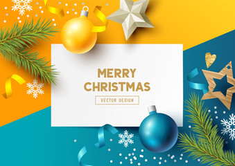 Merry Christmas Composition with fir branches, christmas baubles and snowflakes on a colorful abstract background. Top view vector illustration.