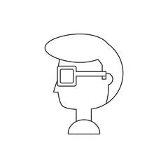 cartoon man head icon