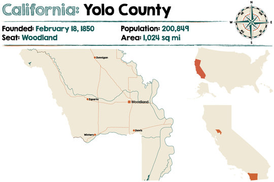 Large and detailed map of Yolo County, California