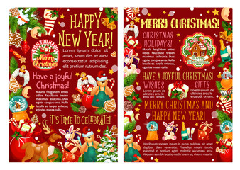 Christmas and New Year gift greeting poster design