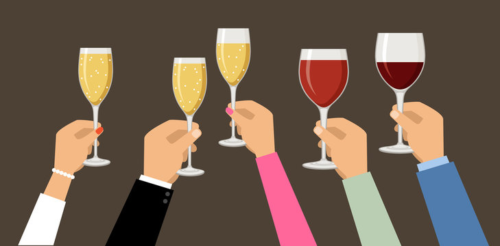 Hands holding champagne and wine glasses,  celebrating