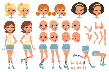 Cirl character creation set, cute girl constructor with different poses, gestures, faces, hairstyles, vector Illustrations