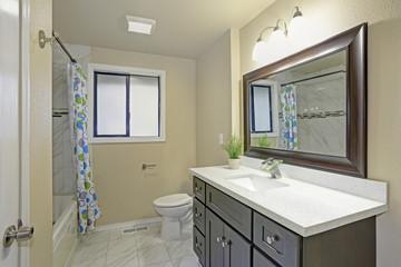 Bright clean bathroom interior with espresso vanity cabinet