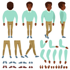 Curly-haired black man constructor. Cartoon creation set with various views front, side, back. Body parts, different hands gestures, collection of shoes. Isolated flat vector