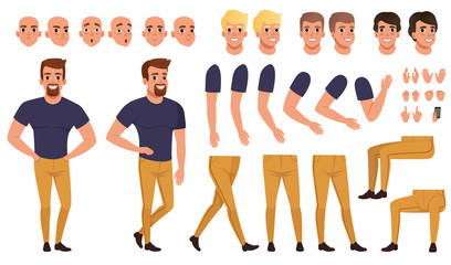 Handsome man creation set with various views, poses, face emotions, haircuts and hands gestures. Cartoon male character constructor. Isolated flat vector