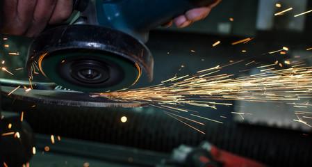 Industrial Grinder and Sparks