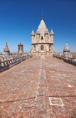 Lantern tower over the roof of Cathedral of Evora, Basilica Se Catedral de Nossa Senhora