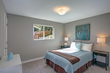 Calm and cozy bedroom with gray walls.