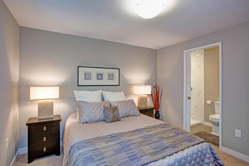 Peaceful gray blue bedroom interior with ensuite bathroom