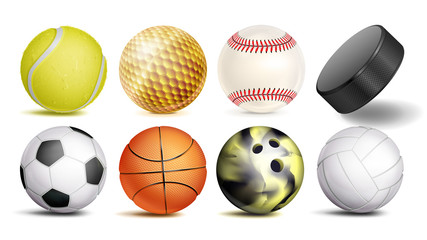Sport Balls Vector. Set Of Soccer, Basketball, Bowling, Tennis, Golf, Volleyball, Baseball Balls. Hockey Puck. Isolated Illustration