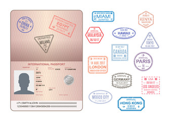 Template of an open passport with stamps, seals. Travel, immigration.