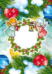 Christmas holiday card with cute little angel and wreath.