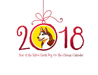Vector banner with a dog, symbol of 2018 on the Chinese calendar.