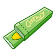 Funny and cool green chew gum ready to eat - vector.