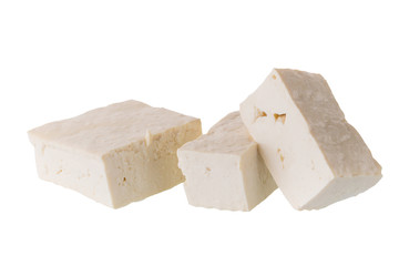 soy cheese tofu diced isolated on white background