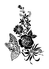 abstract black flower bouquet with butterfly tattoo, isolated vector illustration