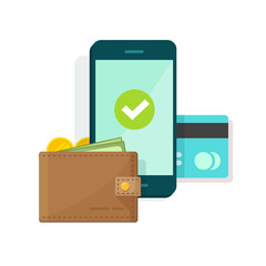 Digital mobile wallet vector illustration icon, flat design smartphone screen with electronic wallet and credit card, internet banking concept, wireless money transfer, internet cellphone payment