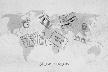 study abroad mixed school items over world map overlay
