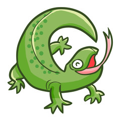 Funny and happy green lizard - vector.