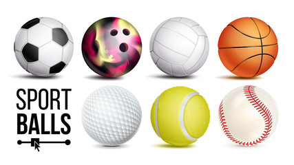 Sport Balls Set Vector. Isolated Illustration