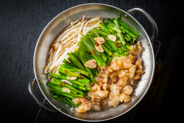 博多もつ鍋 Motsunabe, or giblets cooked in a hot pot