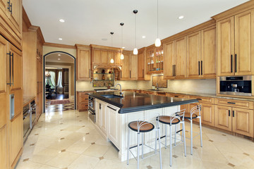 Kitchen with counter top island