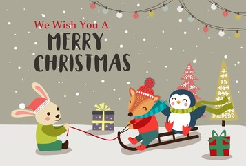 Christmas background design with cute cartoon animals. Vector illustration.
