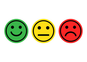 Green, yellow, red smileys emoticons icon positive, neutral and negative, different mood. Vector illustration