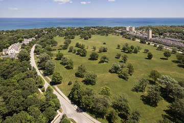 Aerial of Lakeshore Development with homes and condos