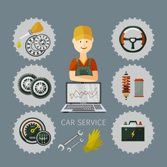 vector flat car service infographic poster with man professional mechanic, car parts repairing process, tools, equipment and laptop with growing performance graph. Illustration on grey background.
