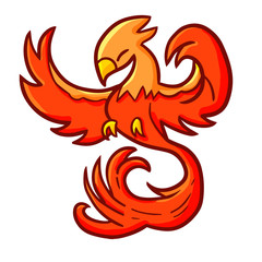 Cool and great red orange phoenix bird - vector.