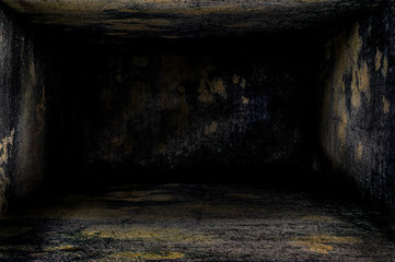 Very dark room in 3d with floor and roof texture