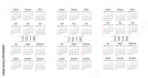 Pocket Calendar Template 2018 Monday Stock Image And Royalty Free