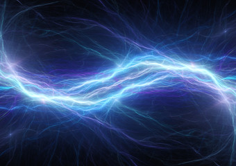 Blue lightning bolt, abstract plasma and energy background