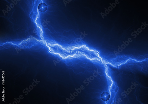Blue Lightning Bolt Abstract Plasma And Energy Background