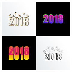 Modern and Creative Happy New Year 2018 number element