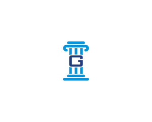 Law Pillar and Letter G Logo Icon 2