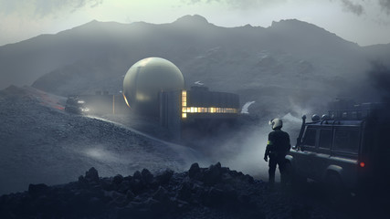The Orb - a lone observatory in the rocky mountains (3d rendering)