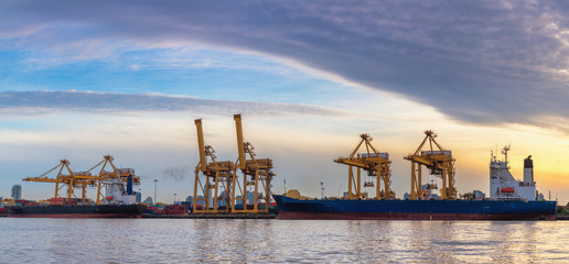 Shipping yard and teminal loading at sunrise scene, Transportatio