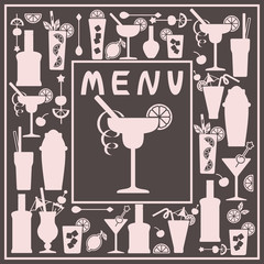 Card with vector alcohol cocktail icons and bottles. Flat style. Suitable for menu bar or invitation