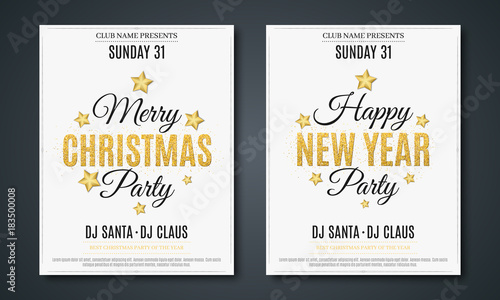 Set posters for Christmas and New Year party. Invitation card. The ...