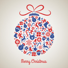 Beautiful Christmas ball made of cute icons - greeting card. Vector.
