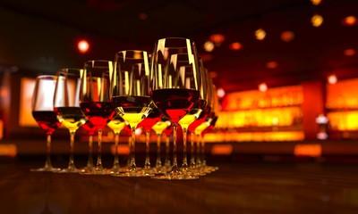 並んだワイングラス