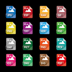 image file formats, file extensions, Flat colorful vector icons, isolated on white background.