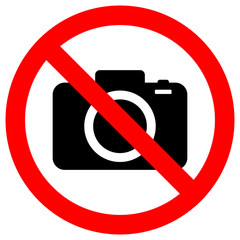 NO CAMERAS ALLOWED sign. Flat icon in red crossed out circle. Vector.