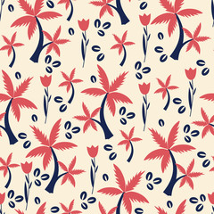 Seamless floral pattern, cartoon vector tropical illustration, tulip flower, coffee seeds, palm tree isolated on background, decorative texture for design wrapping paper, greeting card, cosmetic