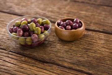 Marinated olives in bowls