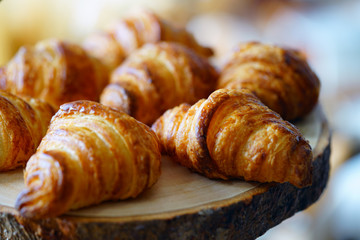Freshly baked French croissants